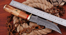 Load image into Gallery viewer, Customs Hand Forged Damascus Steel Hunting Knife Brass Bolster With Olive Wood Handle AJ-91