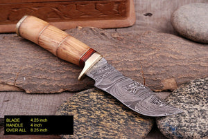 Custom Hand Forged Damascus Hunting Knife Brass Guard & Olive Wood Handle -Q343