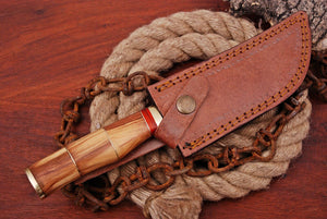 Customs Hand Forged Damascus Steel Hunting Knife Brass Bolster With Olive Wood Handle AJ-91