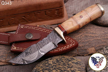Load image into Gallery viewer, Custom Hand Forged Damascus Hunting Knife Brass Guard & Olive Wood Handle -Q343