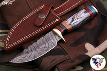 Load image into Gallery viewer, Custom Hand Forged Damascus Steel Hunting Knife With Brass Guard& Stained Wood Handle AJ 494
