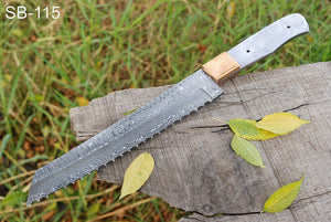 Custom Hand forged Damascus Steel hunting knife Copper Bolster full tang blank blade-SB 115