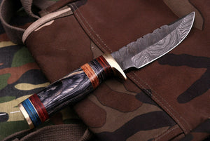 Custom Hand Forged Damascus Steel Hunting Knife With Brass Guard& Stained Wood Handle AJ 494