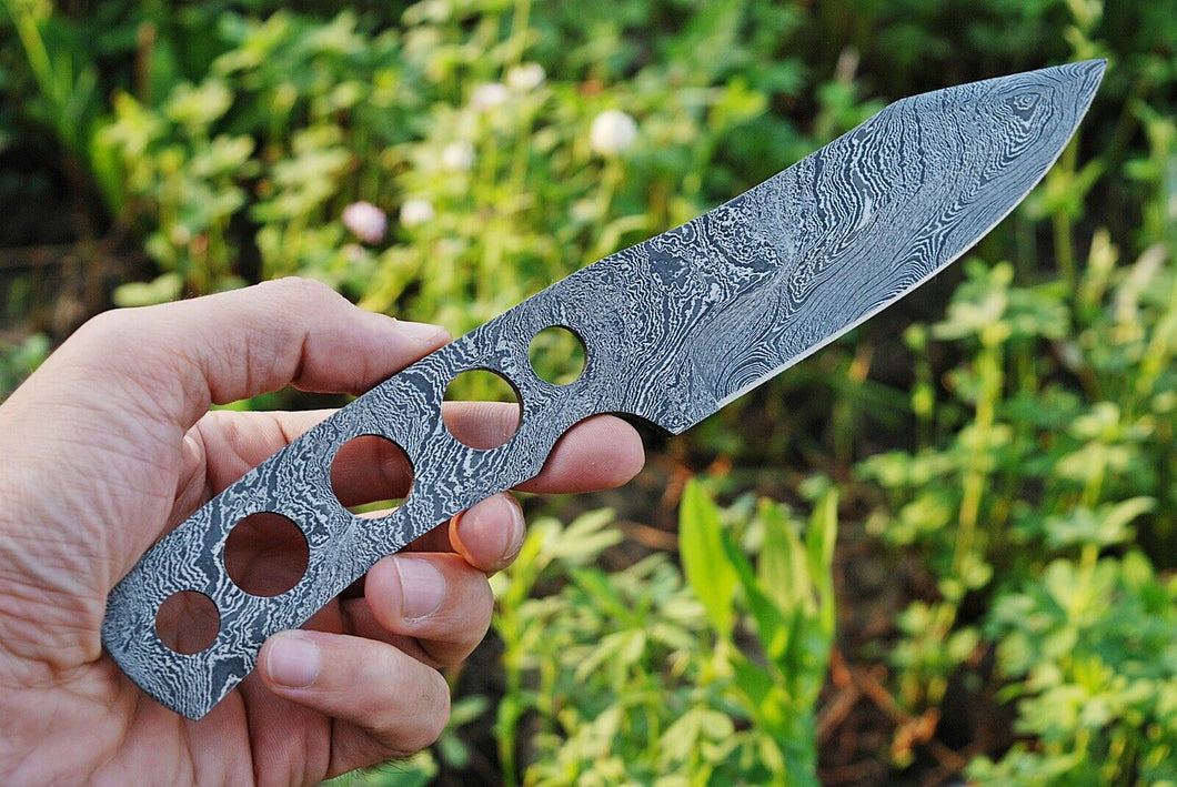 Custom Hand forged Damascus Steel hunting knife full tang blank blade-AJ-84