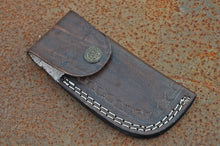 Load image into Gallery viewer, Damascus Folding Knife Raisin Handle with brass bolster-AJ-1662