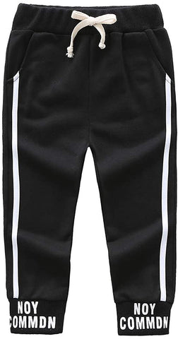 BOBORA Toddlers Infant Kids Letter Print Black Pants Sports Trousers