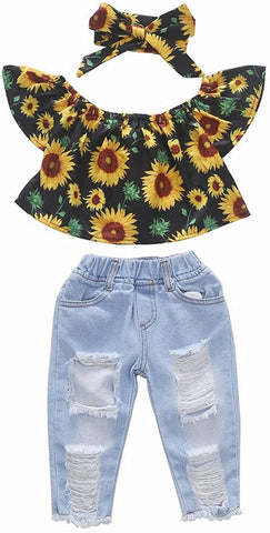 BOBORA - Girl's sunflower off shoulder set of clothing, ripped white jeans and headbands