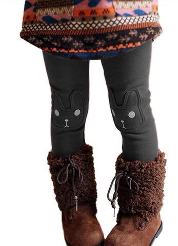 Cute Rabbit Printed Winter Warm Fleece Lining Bobora Kid Girl Leggings