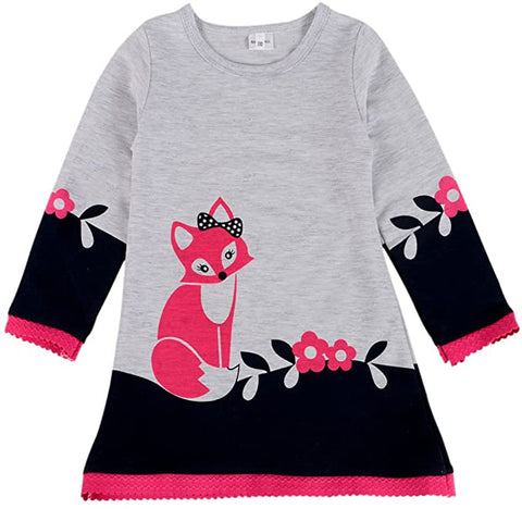 Bobora Kid Girls Long Sleeve Round Neck Cartoon Fox Dress Baby Baby Clothes