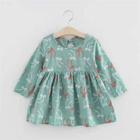 Primary School Girls Students Dress,Small&Medium Children Full Sleeve Cute Floral Princess Dress,For 90-130cm Height,not Fade