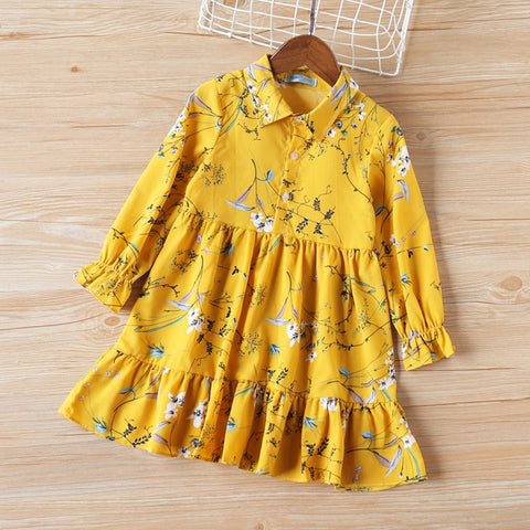 Girls Fall Dress 2019 New Girls Long Sleeve Dress Lapel Print Dress For Girls Kid Dress