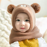 2019 Baby Knit Short Plush inlayer Hooded Scarf Kid Hat And Scarf Child Winter Warm Protection Ear Hat Girl Boy Cute Pom Pom Cap