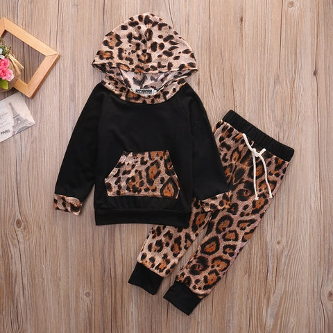 Baby Girls Kids Spring Sweatshirt Tops+Pants 2pcs Outfits Tracksuit Newborn Leopard Clothes Set