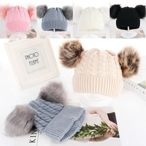 Autumn Winter Children's Hat Knitted Cap Crochet Beanies Outdoor Warm Woolly Solid Color Kids Hats Christmas Caps