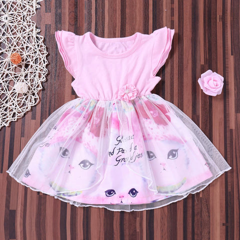 Toddler Infant Child Kids Baby Girls Summer Clothes Cute Cat Print  Dress Lovely Girl Clothes