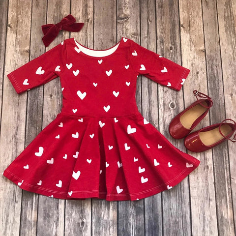 Heart Print Toddler Girls Dress Valentine Day Outfit Cute Baby Girls Clothes Long Sleeve Dress For Girls Kids Dresses For Party