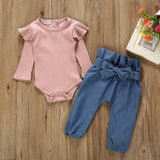 Fashion baby girl clothes baby sets cotton o-neck Newborn Kids Baby Girls Outfits Clothes Romper Bodysuit+Denim Pants Set H4