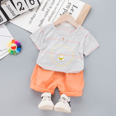 Baby Clothing Set for Boys Girls 2020 Cute Summer Casual Clothes Set Banana Top Blue Shorts Suits Kids Clothes 1-4 Years