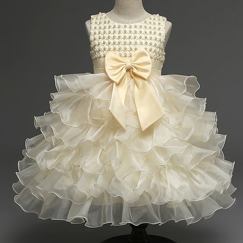 Hot Girl Pearl Flower Dress Children's Clothing Flower Girl Dress Bow Tie Solid Color Ball Gown Party Night Kid Dress new