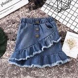 New Summer Fashion Toddler Kids Girls Blue Denim Mini Skirt Short Dress Jean Skirt Casual Mini Skirt