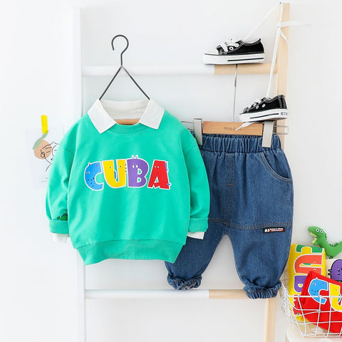 Toddler Girl Clothes Letter Suit For Boy Top + Soft Jeans 2pieces/Set Kids' Things 2020 New Arrive Spring Costume Clothes Baby C
