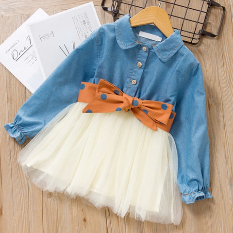 Fashion Girls Dresses Autumn Kids Dress Children Clothing Bowknot Princess Dress Casual Kids Girls Clothes