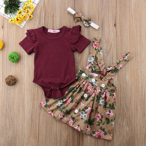2020 Newborn Set Baby Girl Clothing Kid Short Fly Sleeve Bodysuit  Floral Belt Skirt Headband Clothes 3PCS Outfits