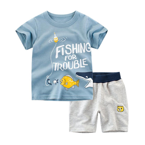 Summer Toddler Baby Boy Kids Clothes Set Cartoon Cotton Crew-neck Short Sleeve T-shirt+Shorts 2PCS Kid Children Clothing Sets
