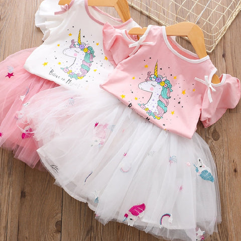 Fashion Unicorn Dress for Girls Children's Clothes Kids Lace Dresses Baby Girls Costume Summer Sleeveless Princess Dress