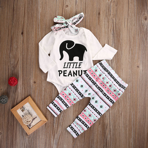 Newborn Baby Boy Girl Elephant Clothes Set Romper Tops Striped Legging Pant Headband Outfit Set Infant Kids Clothing