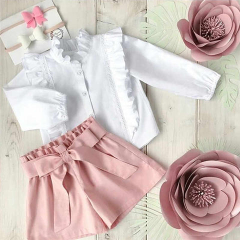 CANIS casual Fashion Baby clothing Girl Toddler Kids ruffles blouses Shirt and short trousers Shorts Child Clothes Outfit 2Pcs