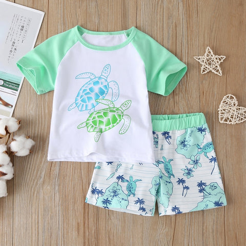 2020 New Summer Fashion Toddler Baby Boys Kids Clothes Tortoise Short Sleeve T-shirt Shirt+ Shorts Cotton Children Clothing Sets