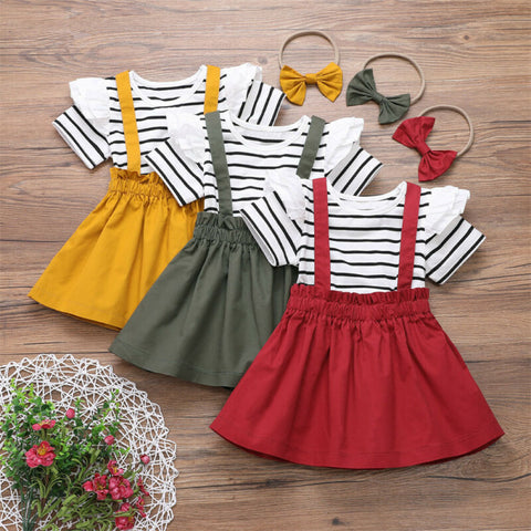 3Pcs Summer Kids Clothes Baby Girl Clothes Striped Top T-shirt Strap Skirt Headband Outfits Ruffle Girls Clothing Sets