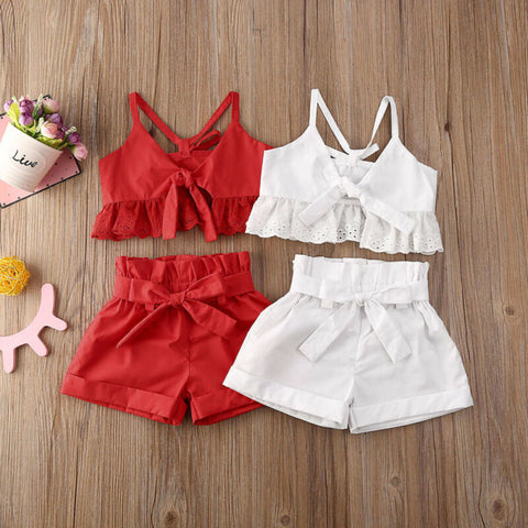 2020 Summer Infant Kids Girls Clothes Sets Ruffles Lace Solid Sleeveless Bow Belt Vest Tops+Shorts 2pcs