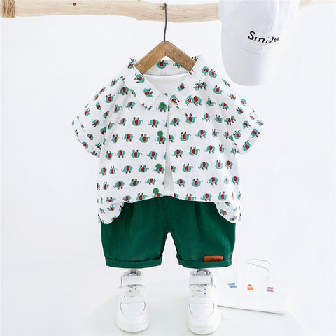 2020 New Summer Fashion Toddler Baby Boys Kids Clothes shirt+shorts Print Cotton Children's Clothing Sets