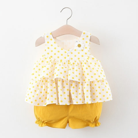 Summer Infant Girl Clothes Baby Set Toddler Kids Sleeveless Suspender Round Dot Layered Tops And Shorts Two Piece Newborn Outfit