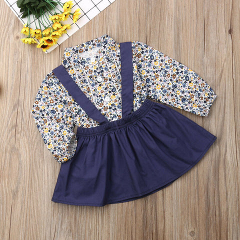 2pcs Toddler Kid Baby Girl Flower Tops + Cotton Clothes Skirt Outfit Sets UK