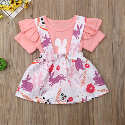 1-4 Years Baby Girls Dress Set Flower Print Newborn Kids Dresses Girl Pink Short Sleeve Cute Rabbit T-Shirts Girls Clothes Set