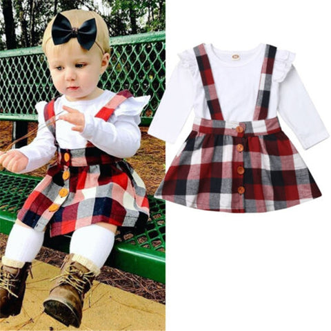 Baby Girls Clothes Cover Up Set White Shirt+Plaid Sling Brace For Toddler Kids 2019 Overalls Beachwear Skirts Set 2pcs Outfit