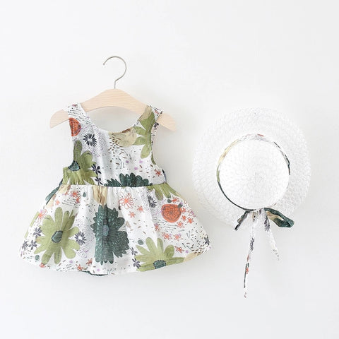 2020 New Baby Girls Dresses With Hat 2pcs Clothes Sets Kids Clothes Baby Sleeveless Birthday Party Princess Dress Print Floral
