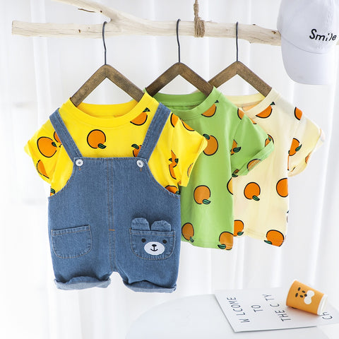 Summer Baby Boy Clothes Set Baby Girls Clothes Fashion T-shirt+Overalls 2Pcs Outfits Infant kids Clothes Toddler Clothing Sets