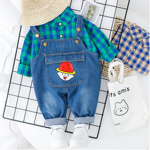 Children Spring Autumn Cotton Clothes Baby Boy Girls Lattice T Shirts Bib Pants 2Pcs/sets Infant Kids Fashion Toddler Tracksuits
