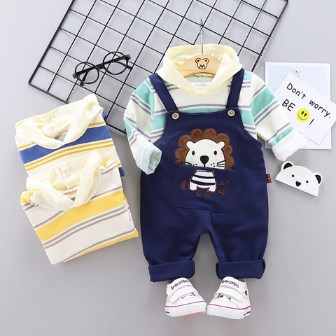 Spring Autumn Children Clothes Baby Boy Girl Stripe Hooded Shirt Cartoon Overalls 2Pcs/set Toddler Cotton Clothing Kid Tracksuit