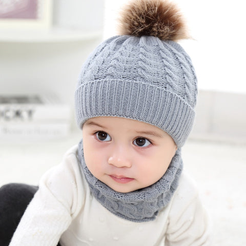 0-3 Years Winter Baby Hat With Neckerchief Warm Baby Boy Suit Hair Plush Ball Knitted Girl Cap Kids Hats Infant Soft Caps