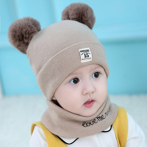 2Pcs Baby Hat Scarf Set Bear Cat Winter Spring Autumn Warm Knit Baby Cap Bonnet Kids Hat Boy Girl Caps Boys Girls Crochet Beanie
