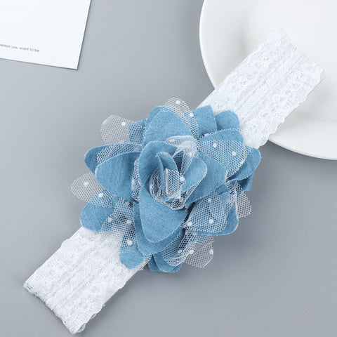 1pc Baby Kids Blue Flower Headband Girl Creative Lace Flower Elastic Jean Cloth Dots Hairband Newborn Hair Accessories