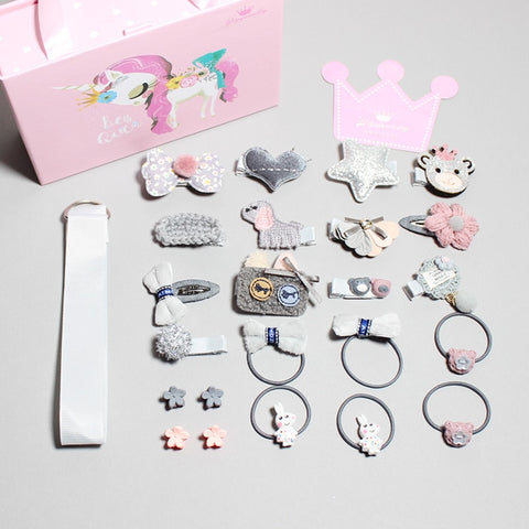children Head Wear Set Kids Elastic Bow Knot Hair Clips Crown Rabbit Flower Pins Hairpins Kids Bow Girls Gift top quality
