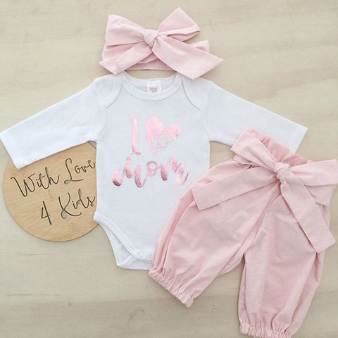 0-24M Newborn Infant Baby Girls 3pcs Clothes Set Kid Girls Romper+Long Pants+Headband Outfits Clothing Set