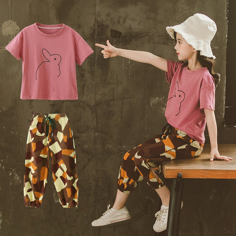 Summer Clothing Sets 2020 New Kids Outfits Cute Animal Print Short Sleeve Tops + Casual Pants 2Pcs Girls Clothes 6 8 10 12 Year