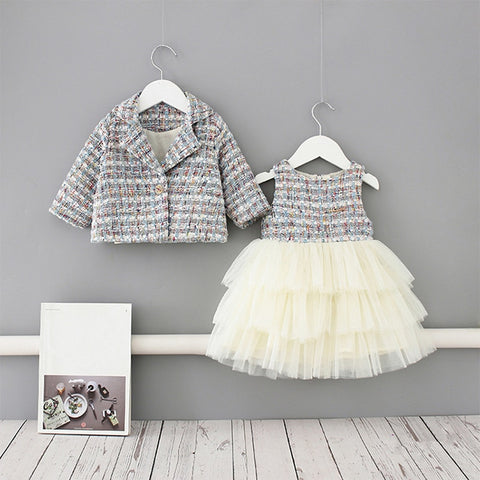 2020 Baby Spring Clothing Infant Kids Baby Girls Pageant Coat + Tutu Dress Party Outfit Fashion Elagent Clothes Sets 1-5Y